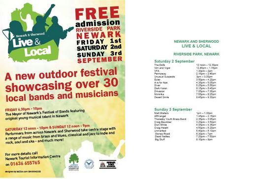 Live and local festival: Newark 2nd - 3rd September