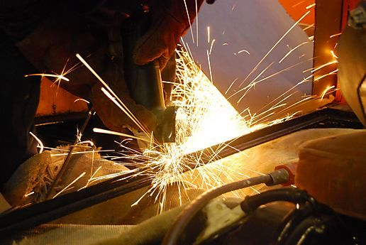 Grinding and welding.......
