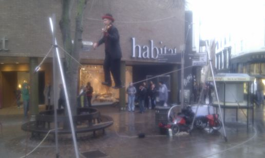Busker in Norwich yesterday