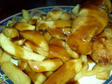 sausage, chips and gravy