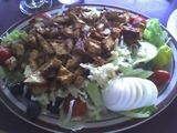 Grilled chicken salad with feta dressing