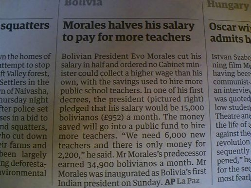 Bolivian President halves salary to pay for more teachers