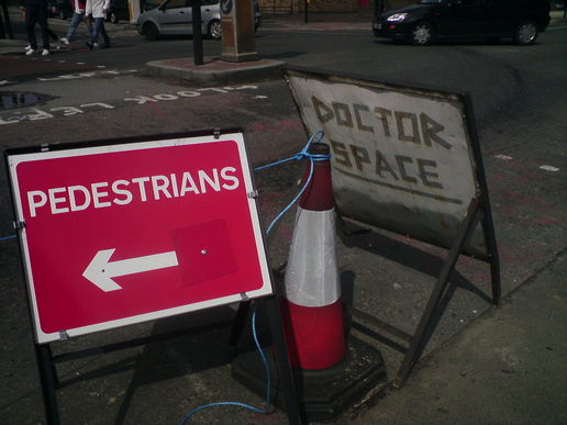 Pedestrians this way, Doctor Space that way
