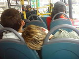 2 boys sweetly asleep on the bus