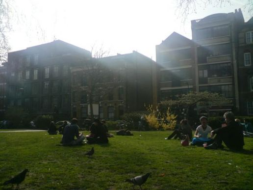 Waiting for @Karinab in hoxton square