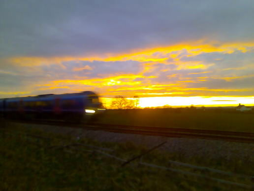 Sunset and a train