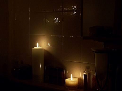 bath time by candlelight...........