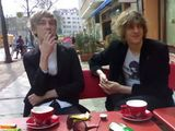 Coffee and cigarettes on Kastanienalle in Berlin