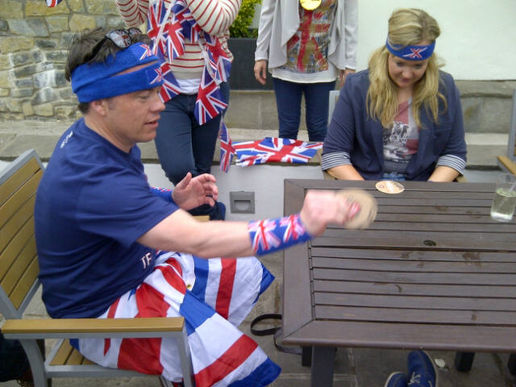 Intense beer mat flipping contest