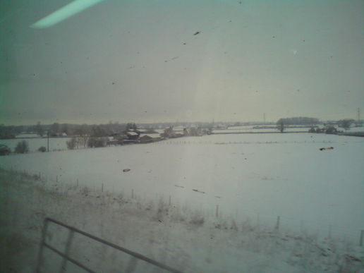 Train travel in the snow