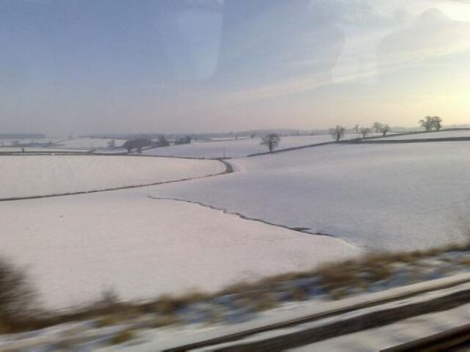 Snow from the train today
