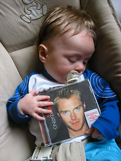 My son with his favorite album