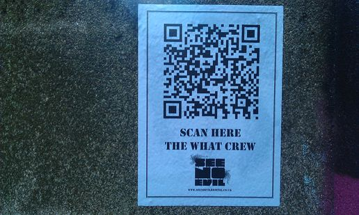 Streetart in bristol - the what crew - see no evil - Qr codes in the wild