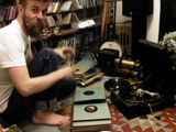 James with his gramophone