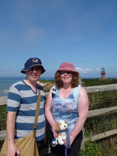 Freakdog and family at the Gay Head cliffs