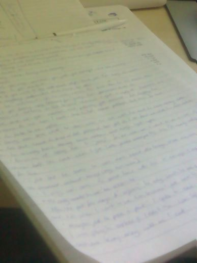 writing on paper....
