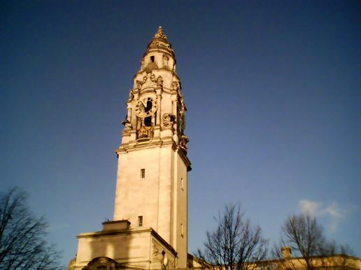 Out of time - Cardiff City Hall's clock is stuck.