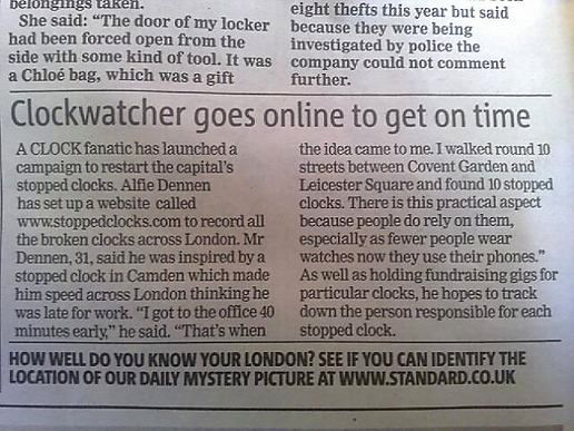 Stopped clocks in the evening standard