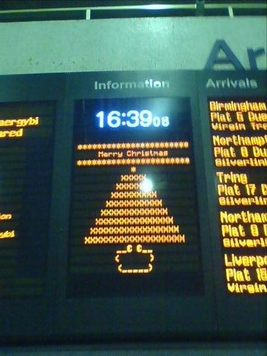 Festive ASCII art at Euston