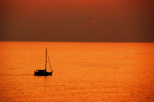 Sunset, sea and boat