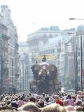 The elephant walking down Piccadilly
