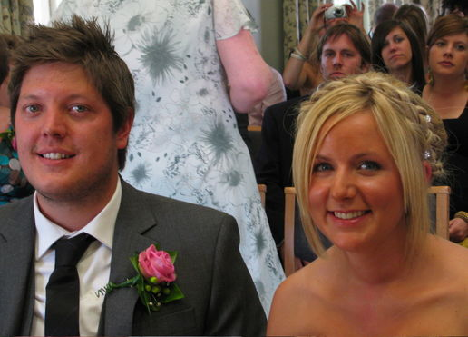 At the registry office, the bride - my niece Naomi and her husband Ian and introducing her nephew Rueben