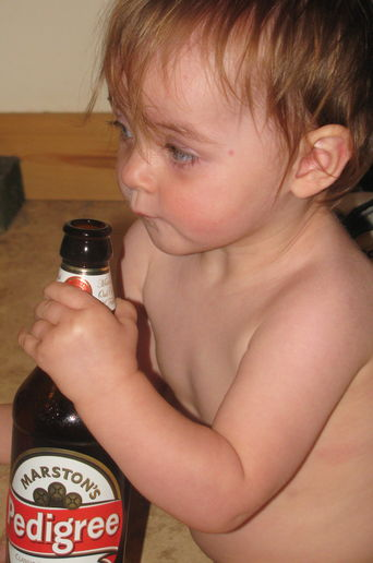 Isabella and the beer bottles!