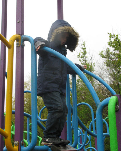 Reuben discovered that it was a bit cold for the adventure playground