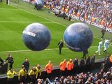 Preparation for presentation and pyrotechnics and keeping the crowd happy  with big balls:)