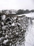 snow and ice on the wall