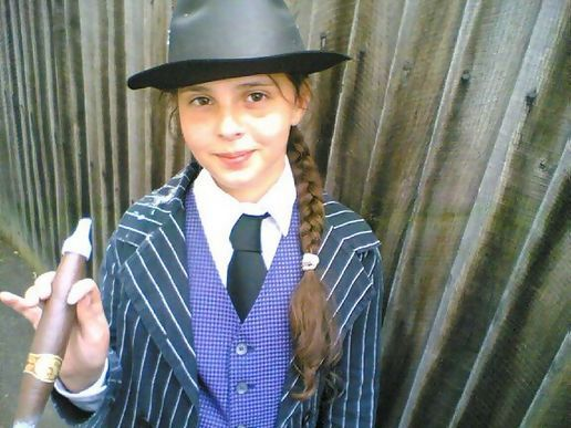 Lili, post-performance (school play was Bugsy Malone)